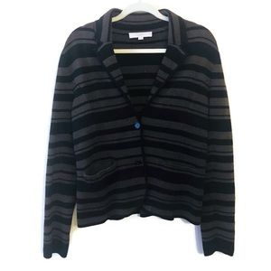 LOFT Black Brown Stripe Cardigan Sweater Medium